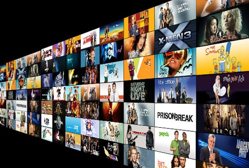 image of dozens of screens with tv shows